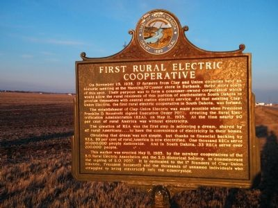 First Rural Electric Cooperative Marker image. Click for full size.