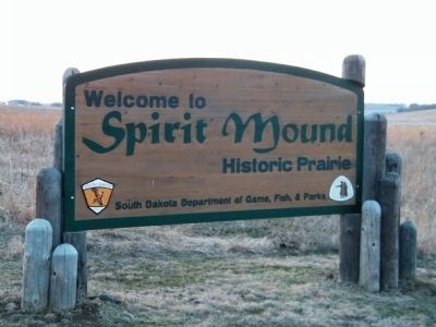 Welcome to Spirit Mound Historic Prairie entrance sign image. Click for full size.