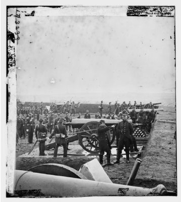 """Guns and gun-crews of Fort Richardson"" image. Click for full size."