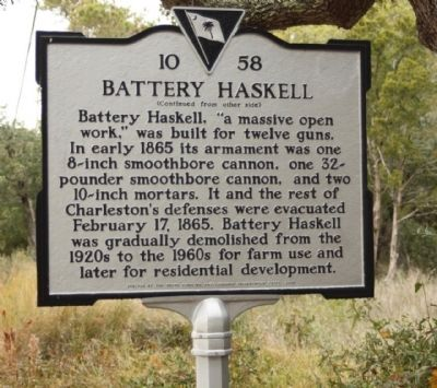 Battery Haskell Marker, reverse side image. Click for full size.