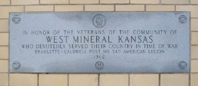 West Mineral War Memorial Marker image. Click for full size.