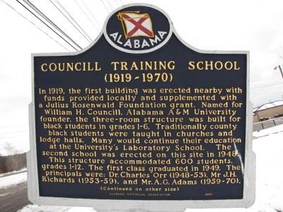 Councill Training School Marker (Side A) image. Click for full size.