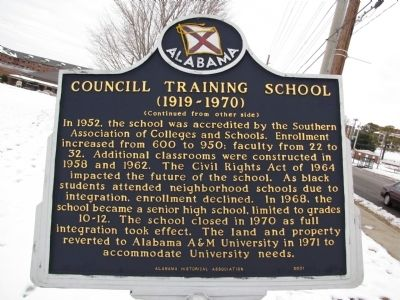 Councill Training School Marker (Side B) image. Click for full size.