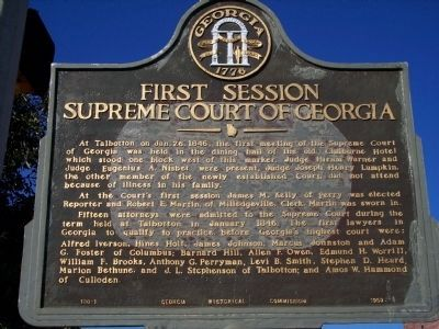 First Session Supreme Court of Georgia Marker image, Touch for more information