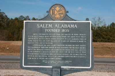 Salem, Alabama Marker (Side A) image. Click for full size.
