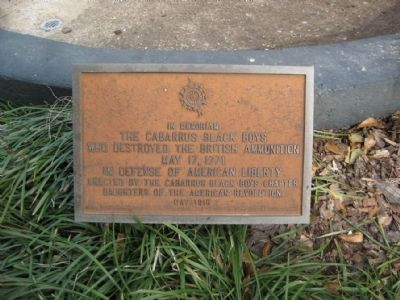 Cabarrus Black Boys Fountain Who Destroyed the British Ammunition Marker image. Click for full size.