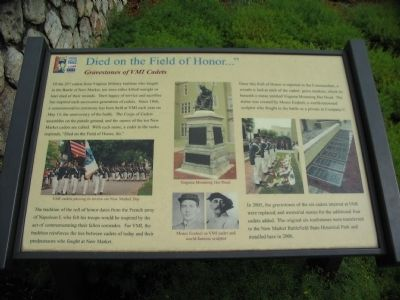 "Died on the Field of Honor..."" Marker image. Click for full size."