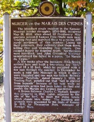 Murder on the Marais des Cygnes Marker image. Click for full size.