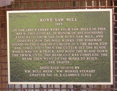Rowe Saw Mill Marker image. Click for full size.