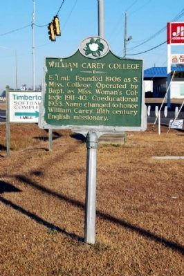 William Carey College Marker image. Click for full size.