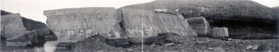 Bayless Dam on Freemans Run, Austin, Pa. which burst Sept. 30, 1911. image. Click for full size.