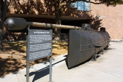 The Civil War Submarine, <i> H.L. Hunley</i> model replica and Marker image. Click for full size.