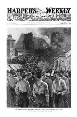 The Homestead riot: the Pinkerton men leaving the barges after the surrender. image. Click for full size.
