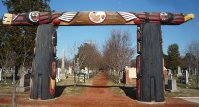 The Healing Poles Memorial, view from behind, looking north image. Click for full size.