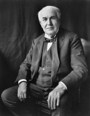Thomas Alva Edison, three-quarter length portrait, seated, facing front. image. Click for full size.