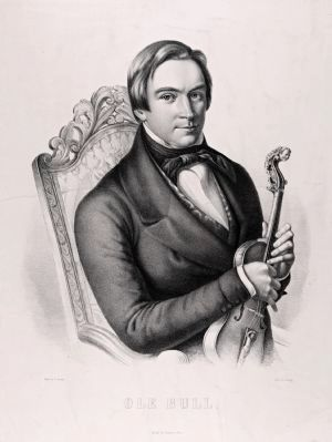 Ole Bull lithographic portrait with violin image. Click for full size.