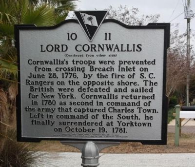 Lord Cornwallis Marker, reverse side image. Click for full size.
