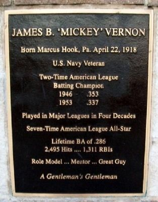 James B. 'Mickey' Vernon Marker image. Click for full size.