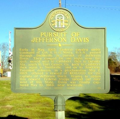 Pursuit of Jefferson Davis Marker image. Click for full size.