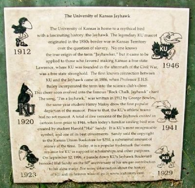 The University of Kansas Jayhawk Marker image. Click for full size.