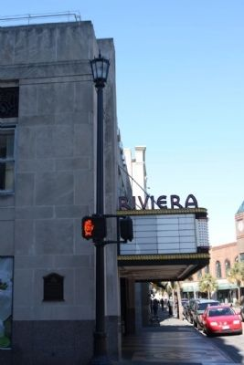 Riviera Theatre Marker, seen along Market Street image. Click for full size.