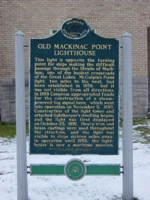 Old Mackinac Point Lighthouse Marker image. Click for full size.