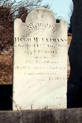 Hugh McClimans Tombstone<br>Carved by T. Walker image. Click for full size.