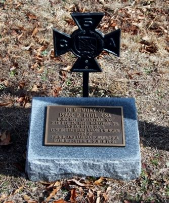 Isaac P. Pool, C.S.A. Tombstone image. Click for full size.