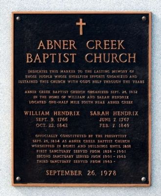 Abner Creek Baptist Church Marker image. Click for full size.