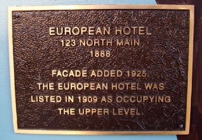 European Hotel Marker image. Click for full size.