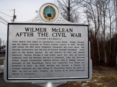 Wilmer McLean after the Civil War Marker image. Click for full size.