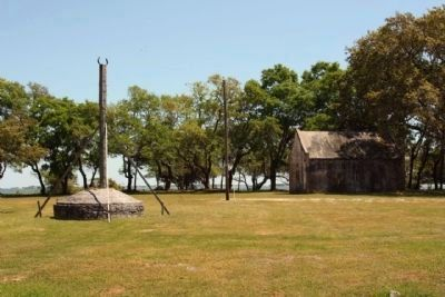 Site of Fort Johnson Powder Magazine with cistern image. Click for full size.