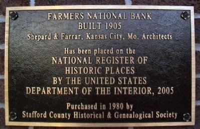 Farmers National Bank NRHP Marker image. Click for full size.