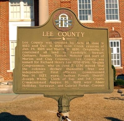 Lee County Marker image. Click for full size.