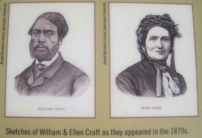 Portraits on the Early Escape Route Marker image. Click for full size.