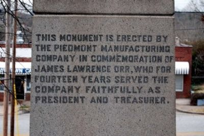 James Lawrence Orr Monument -<br>East Inscription image. Click for full size.