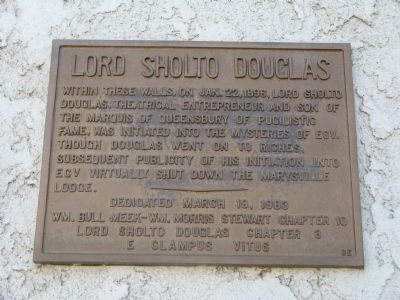 Lord Sholto Douglas Marker image. Click for full size.