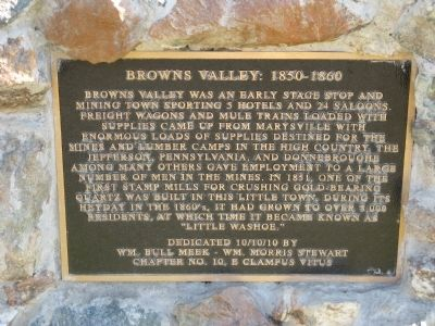 Browns Valley: 1850 – 1860 Marker image. Click for full size.