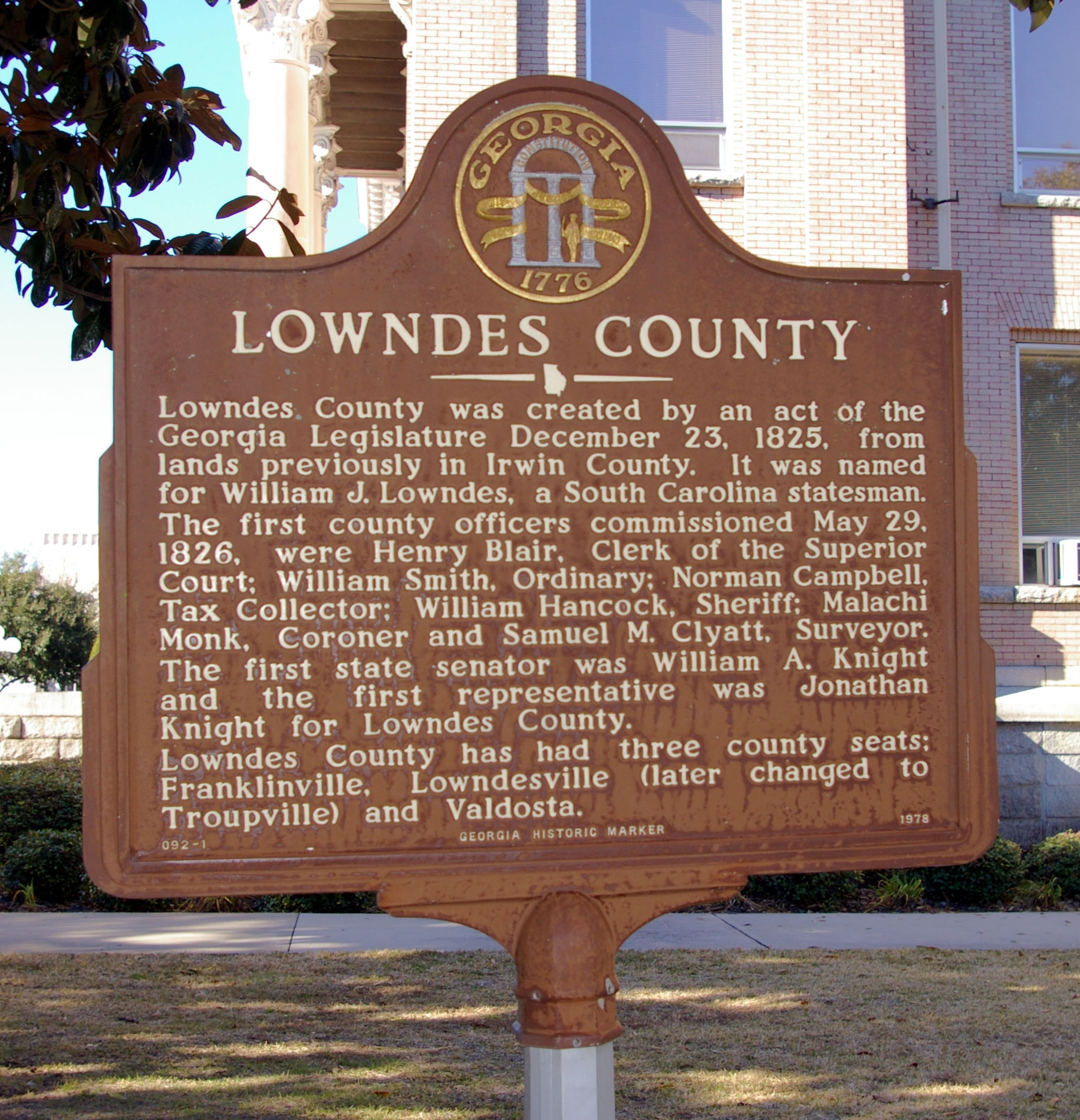 Lowndes County Marker