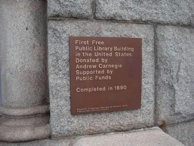 First Free Public Library Building in the US plaque image. Click for full size.