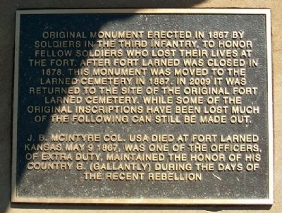 Third Infantry Honored Dead Marker image. Click for full size.