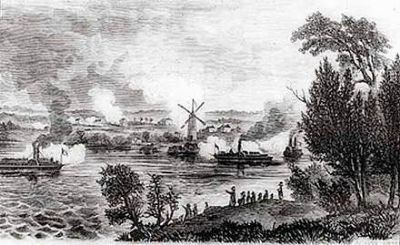 View of the Battle of Windmill Point, below Prescott, Upper Canada. image. Click for full size.