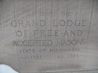 Madison Masonic Temple Cornerstone (upper) image. Click for full size.