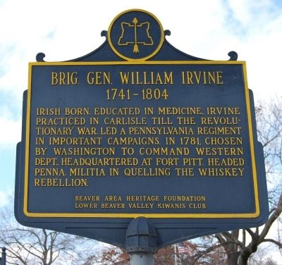 Brig. Gen. William Irvine Marker image. Click for full size.