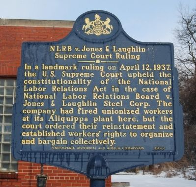 NLRB v. Jones & Laughlin Supreme Court Ruling Marker image. Click for full size.