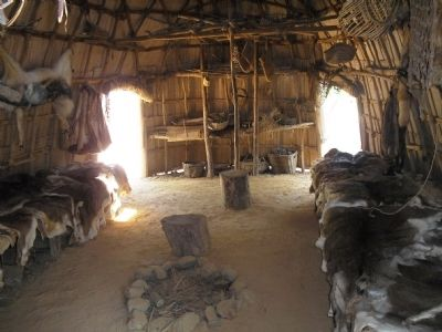 Inside a Powhatan Indian House image. Click for full size.