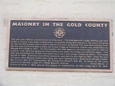 Masonry in the Gold County Marker image. Click for full size.