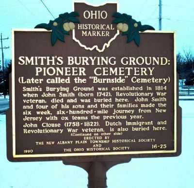 Smith's Burying Ground : Pioneer Cemetery Marker, Side 1 image. Click for full size.