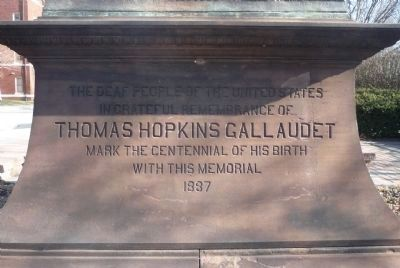 Thomas Hopkins Gallaudet Memorial, west face inscription image. Click for full size.