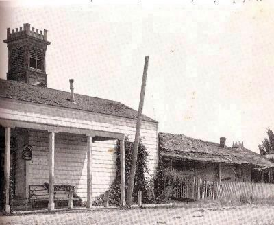 Before Restoration With Saloon Building in Front of Chapel image. Click for full size.